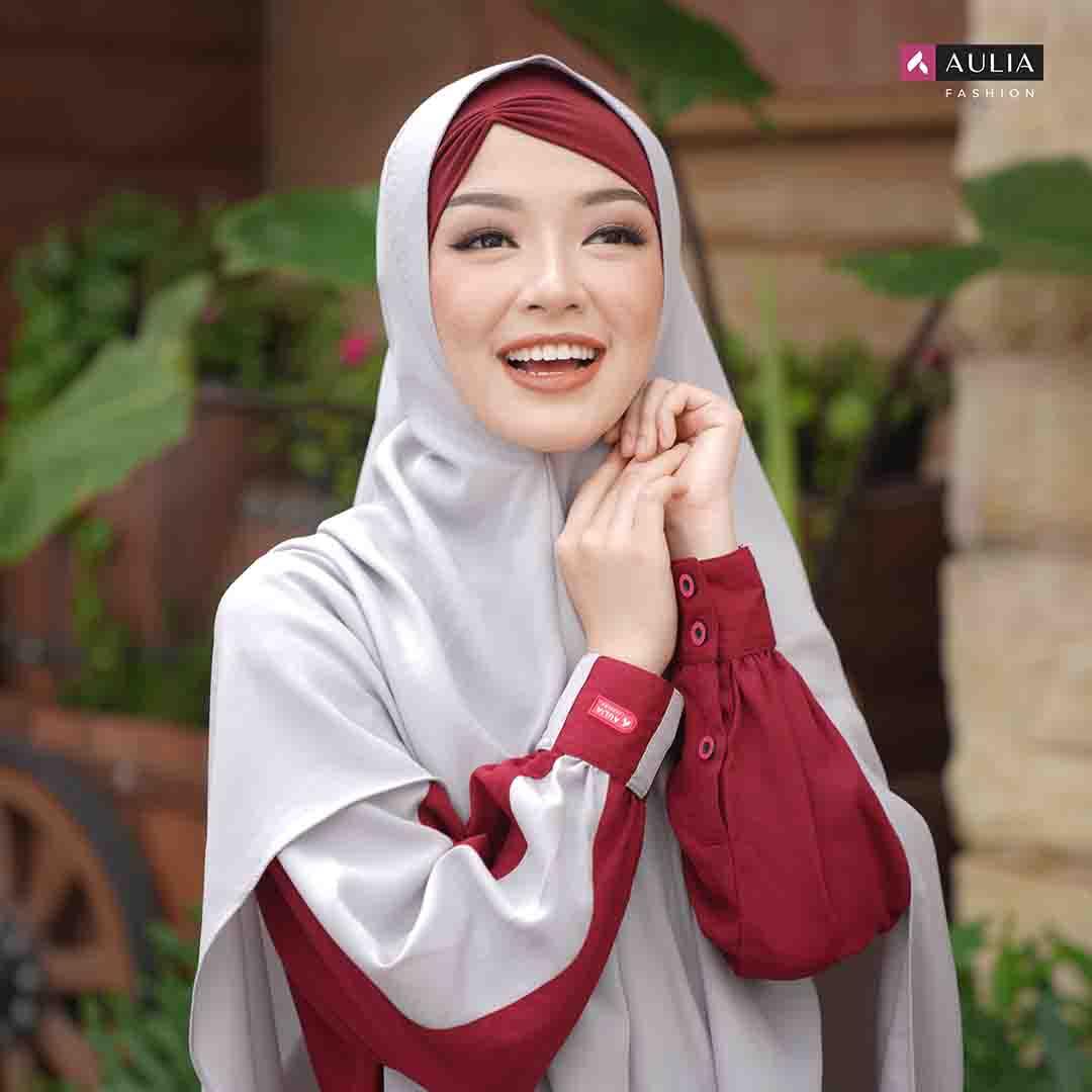 Set Gamis Meisya Maroon Aulia Fashion