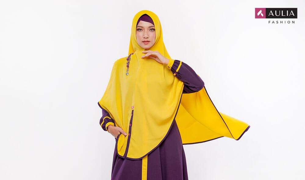 perpaduan warna cerah ceria gamis Aulia Fashion